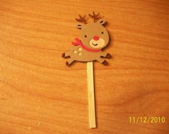 Reindeer cupcake toppers- lot of 12