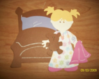 Girl in pj's ready for bed paper doll set- cricut
