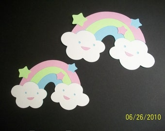 Set of 2 rainbows with clouds diecuts