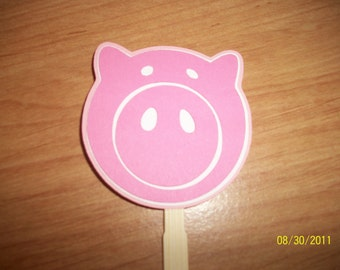 pig face cupcake toppers- set of 24
