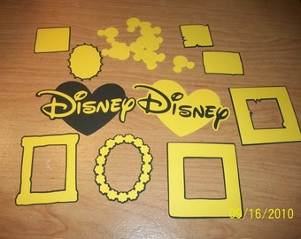 DISNEY DIECUT LOT- 25 Pcs (Frames,Mats,Hearts,Shapes)(black and yellow)