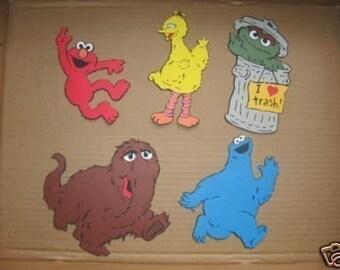 elmo,big bird, oscar,snuffy and cookie monster DIECUTS
