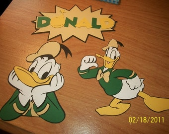 Safari Donald duck die cuts and title- set of 3