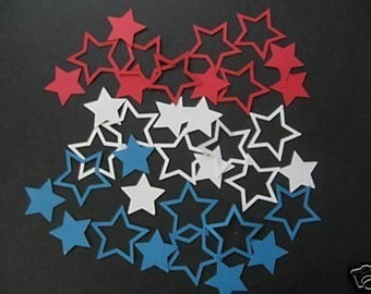 lot of 36 red, white and blue star diecuts- cricut