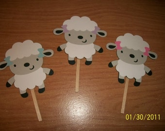 Lamb cupcake toppers- set of 24
