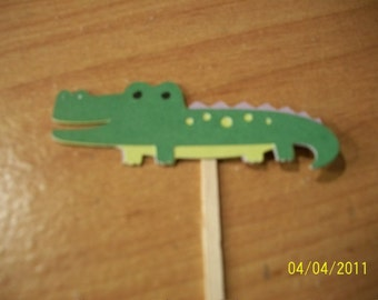 Alligator cupcake toppers- set of 12