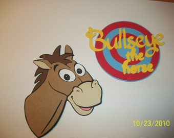 Bullseye die cut and title- toy story