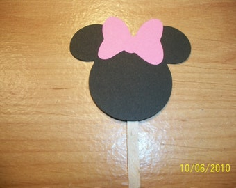 Minnie Mouse cupcake toppers- set of 24- pink bow