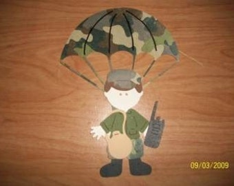Military man with parachute paper doll diecut
