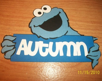 Cookie Monster with autumn title die cut