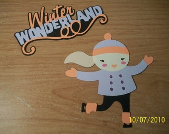 Winter Wonderland title and girl ice skater die cut