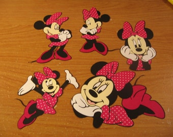 minnie mouse diecut set- fully assembled-5 pc set-pink with white polka dots and pink shoes