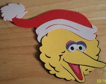 Big Bird head with Santa Hat- fully assembled-cricut