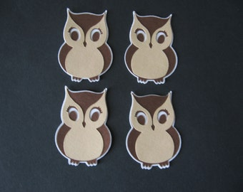 owl diecuts lot of 4- 2 inches