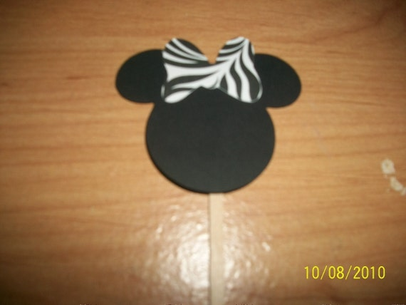 Minnie Mouse cupcake toppers with zebra bow- 30pc