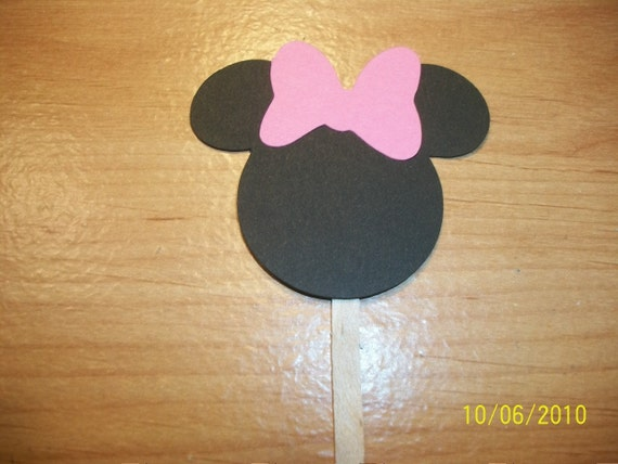 Minnie Mouse cupcake toppers- set of 12- pink bow