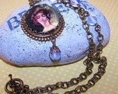 Victorian Lady Necklace and Earring Set, Antique Brass Pendant, Lady Blowing Bubbles