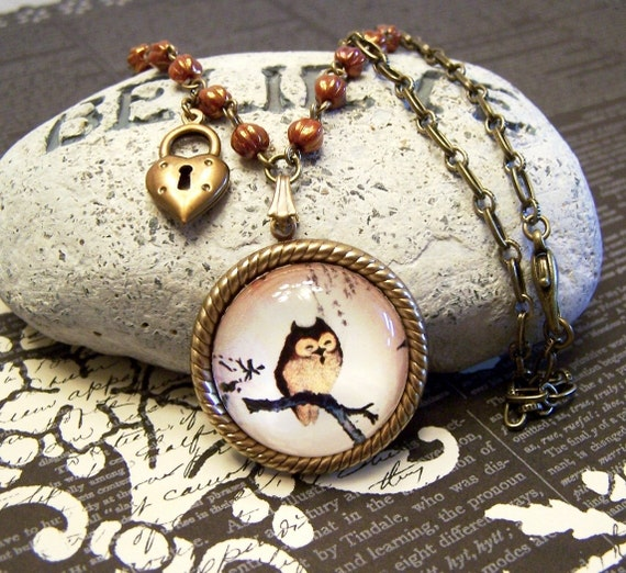 Brown Owl Cameo Necklace with Heart Keyhole Charm, Fall Autumn Pendant Necklace Set with Earrings
