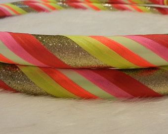 NEW Glow In The DaRK AND BLaCkLiGhT Reactive Travel Hula Hoop - 'SuNriSe GLoW' - Made YOUR Way.