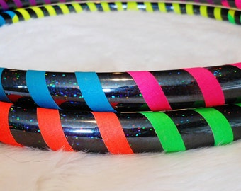 On SALE - Custom Travel Hula Hoop 'Black Galaxy Rainbow Warrior' - Made YOUR Way - UV Reactive / GLoWS in Blacklight