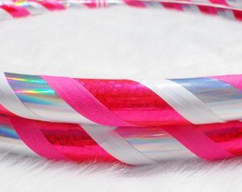 Custom Travel Hula Hoop - MY FiRST LOVE - UV Blacklight Reactive Pink Mini Hearts & Silver Rainbow Iridescent.