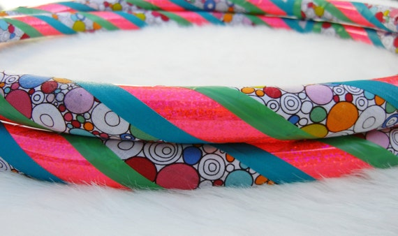 Limited Edition - Only Two Left - Custom Travel Hula Hoop - 'BuBbLeGuM RaiNbOw'  - Made YOUR Colors & Size.