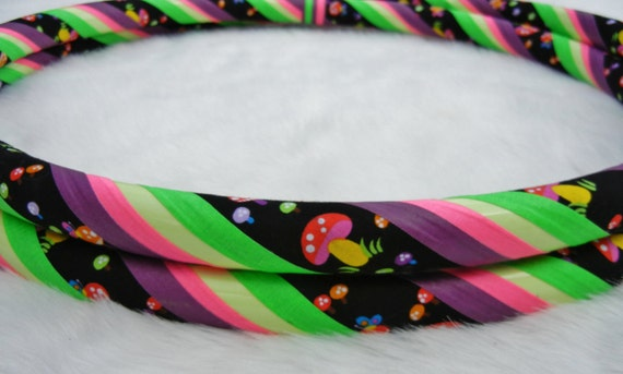 One-of-a-Kind GLoW in The DARK Travel Hula Hoop 'Rainbow Shroom Glow' - LiMITED EDiTiON Fabric Hoop.
