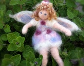 Little Girl Angel in Party Dress, Needle Felted