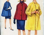 Vintage 1960s Butterick 4299 Sewing Pattern Misses Coat in Three Lengths Size 12 Bust 32 UNCUT