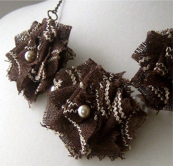SALE. Rosalind. Statement necklace with embroidered coffee brown fabric flower roses and almond pearls.