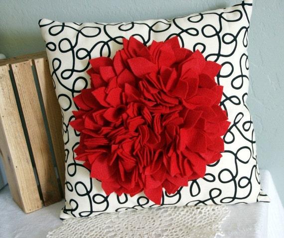Red Felt Flower pillow cover 14x14