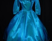 2-Day SALE- Gorgeous 50s Turquoise & Peacock Green Color Change Faille Party Dress