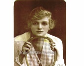 TENNIS ANYONE -  Sepia Tint Vintage Photo Postcard of Beautiful Edwardian ACTRESS Gladys Cooper with Racquet