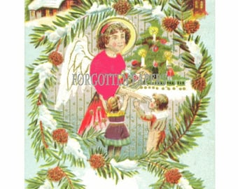 CHRISTMAS  Angel with Real Silk Shirt Gives Children Toys - Vintage ILLUSTRATED POSTCARD