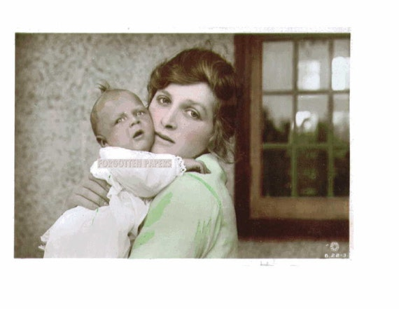 Vintage Postcard Edwardian Actress and  Her BABY BOY JOHN - Real Photo Hand Tinted