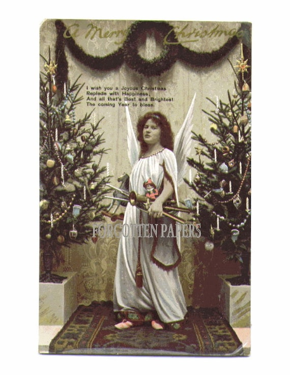 Christmas Angel with Doll and Toys - Vintage REAL PHOTO Postcard