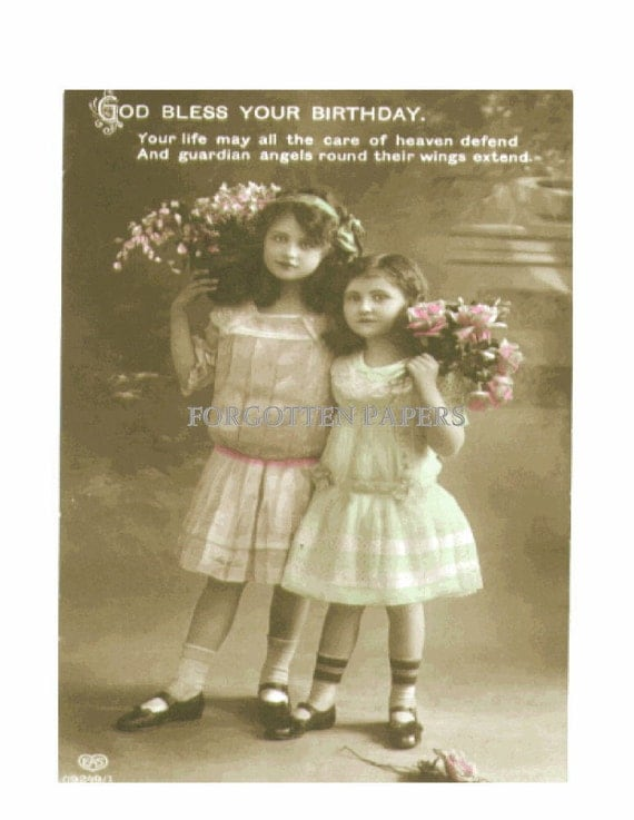 Two Cute Little EDWARDIAN  Girls with Flowerspc - Hand Tinted Vintage Real Photo Postcard - EAS