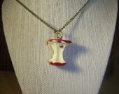 CLEARANCE...Red Apple Core Necklace Swarovski Crystal cute fruit teenager unusual