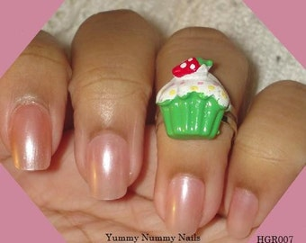 Cupcake Ring  with strawberry on top Adjustable