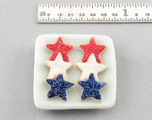 Dollhouse Miniature 4th of July Star Sugar Cookies on Square Plate