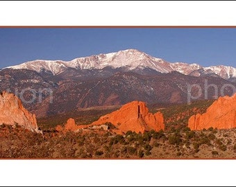 Pike's Peak and Garden of the Gods - Panoramic Photographic Print - scenic landscape