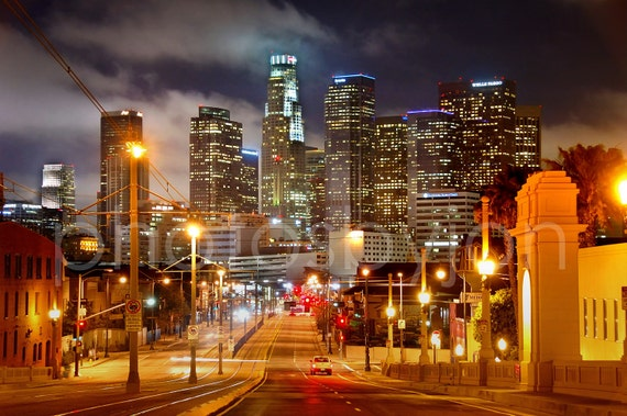 Los Angeles Skyline NIGHT View from East LA 8 x 12 Signed Print - Cityscape Photo