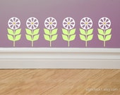 Retro Flower Decals set of 12 matte wall decal