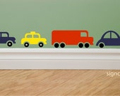 Cars Trucks Taxis Buses city traffic wall decal set of 12 decals Choose Colors fun designs for boys rooms