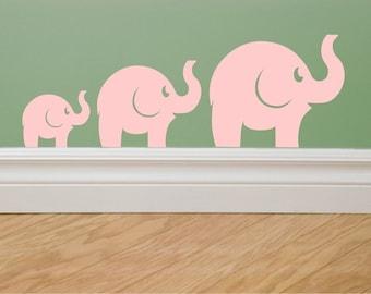 Elephants wall decal - set of 3 vinyl elephant wall decals - baby nursery wall art - nursery wall decals - animal decals - elephant family