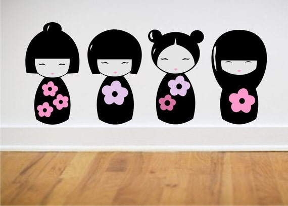 Kokesha Dolls Wall Decals Japanese Style doll wall decals - asian wall decor - Geisha Doll Wall Decals - set of 4 Geisha Kokesha Decals
