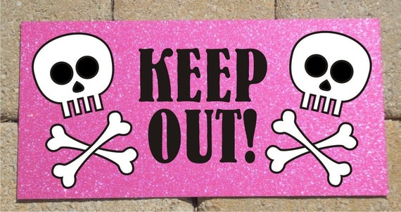 Metal Sign Skull and Crossbones Keep Out Pink Sparkle Background 6x12 ...