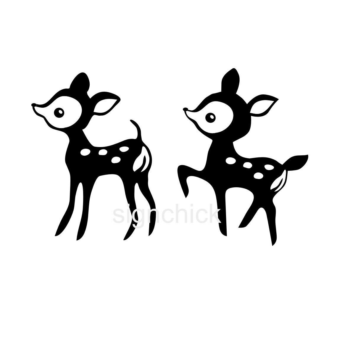 Image De Art Deer And Drawing: Baby Deer Wall Decals Set Of 2 Deer Vinyl Wall Art