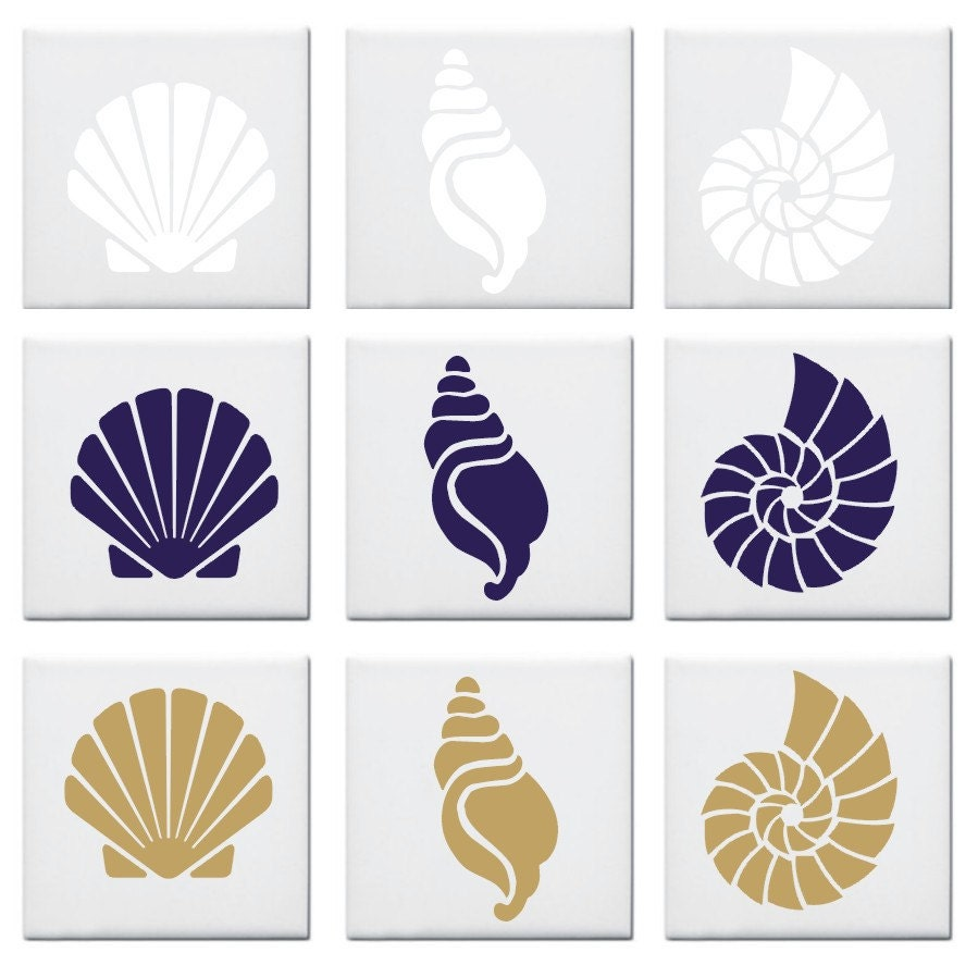 Seashell design tile decals stickers nautical look set of 12 for Bathroom tile stickers