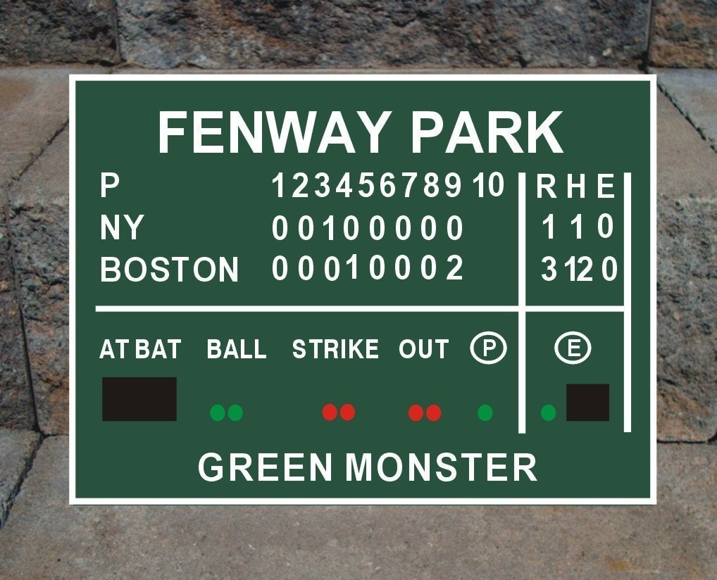 Red Sox Scoreboard Sign Metal Sign Green And White Green